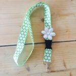 keycord groen wit grote stip big dot vrolijk bloem