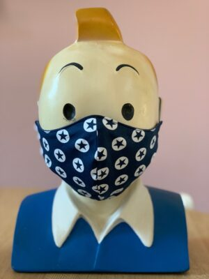 hoofd met navy blauw mondkapje op met sterren